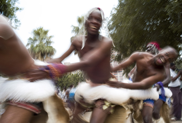 Traditional dancers in Joubert Park