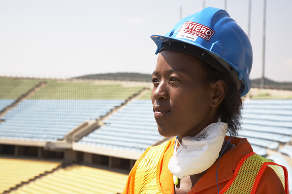 Construction worker at Royal Bafokeng Stadium near Rustenberg