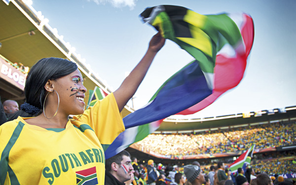 Flying the national flag of South Africa