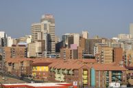 Johannesburg, Gauteng province: A view of the city centre from the Newtown onramp to the M1 highway, with the Brickfields housing project in the foreground