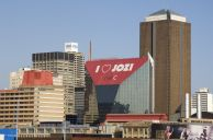 Johannesburg, Gauteng province: Newtown and the city centre, with the Diamond Building draped in advertising for a mobile phone operator