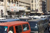 Johannesburg, Gauteng province: Traders and minibus taxis in Bree Street in the city centre