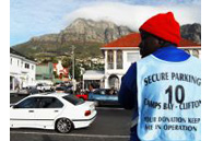 Cape Town, Western Cape province: Amos Sibanda, a car guard in Camps Bay