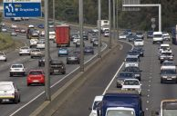 Johannesburg, Gauteng province: The M1 highway in Sandton