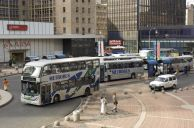 Johannesburg, Gauteng province: Bus rank at Ghandi Square in the city centre