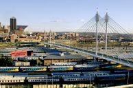Johannesburg, Gauteng province: The Nelson Mandela Bridge crosses the Johannesburg Station shunting yards, linking the business districts of Braamfontein and Newtown