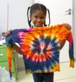 Tie-dyed t-shirt ready to be passed on