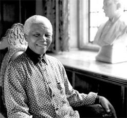 Nelson Mandela photographed at Rhodes House, the base for Rhodes scholars at Oxford University in the UK, in July 2003