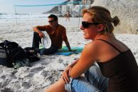 Cape Town, Western Cape province: Chase van Aardt and Judith Lettier relax on Clifton Second Beach