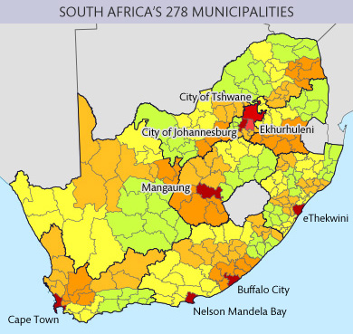 Map of South Africa's municipalities