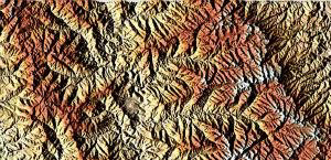 A satellite image of the most elevated stretch of the Drakensberg